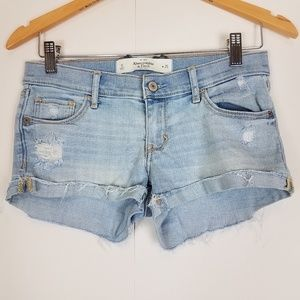 Abercrombie & fitch distressed ripped jean shorts